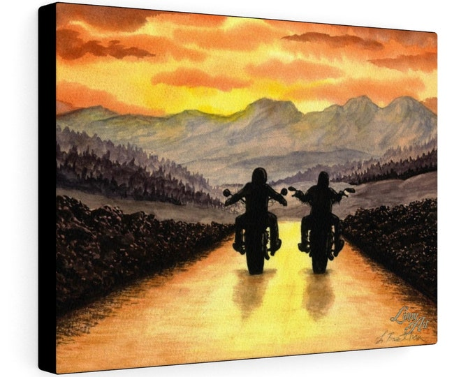 Live To Ride - Watercolour By Mouth - Print On Stretched Canvas (16x12 inches)