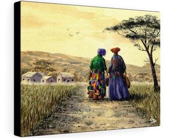 I Dream Of Africa (Watercolour By Mouth) - Print On Stretched Canvas, 16x12 inches