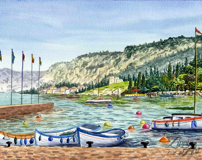 Lake Garda (Watercolour by Mouth) - Original, Framed & Mounted