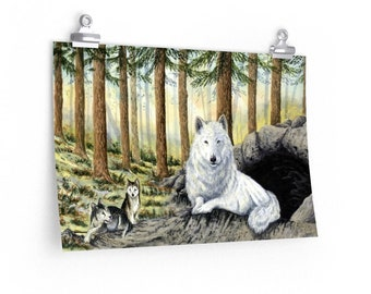 She Wolf - Watercolour By Mouth - Poster Print On Fine Art Paper (18x12 inches)