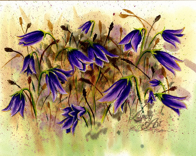 Harebells (Watercolour by Mouth) - Original, Framed & Mounted