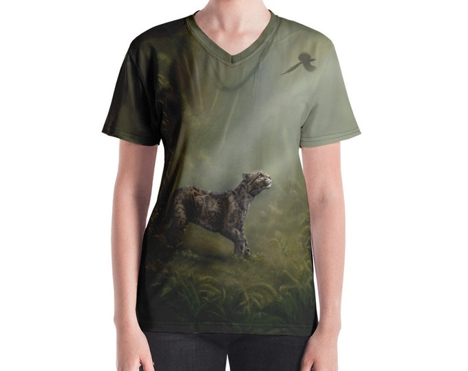 SumatraCTP: Women's V-neck Shirt  - Clouded Mystery (Clouded Leopard) ***FREE SHIPPING***