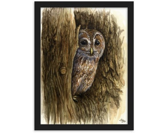 Tawny Owl (Watercolour By Mouth) - Print, Matte, Framed (30x40cm)