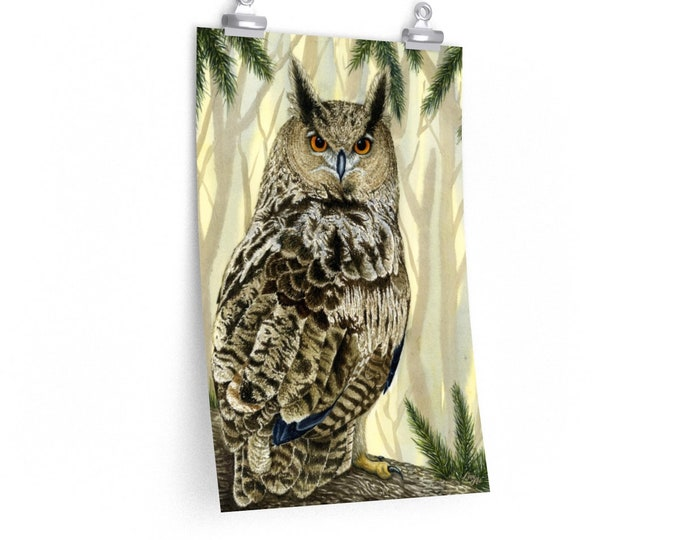 Eagle Owl (Watercolour By Mouth) - Poster Print On Fine Art Paper (12x18 inches - Unmounted, Unframed)