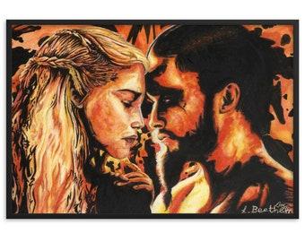 Fire & Blood (Watercolour By Mouth) - Print, Matte, Framed (61x91cm)