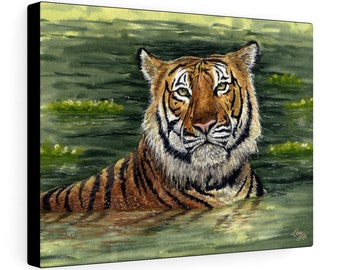His-Royal-Wetness (Watercolour By Mouth) - Print On Stretched Canvas, 16x12 inches