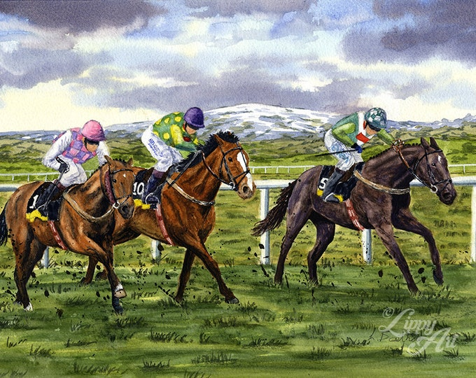 Denman Takes The Lead (Watercolour by Mouth) - Original, Framed & Mounted