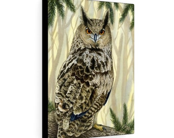 Eagle Owl - Watercolour By Mouth - Print On Stretched Canvas (12x16 inches)