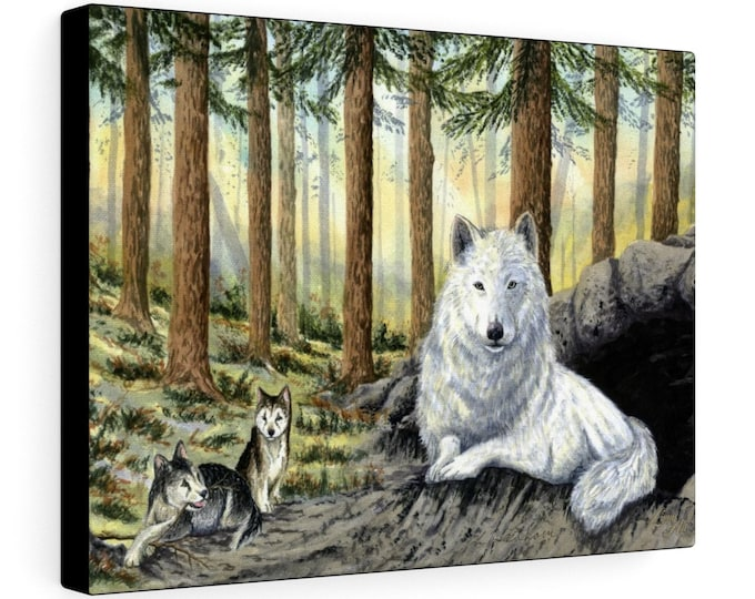 She Wolf (Watercolour By Mouth) - Print On Stretched Canvas, 16x12 inches