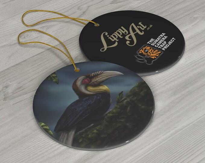 Wreathed Hornbill (SCTP) - Porcelain Ornament, Circle