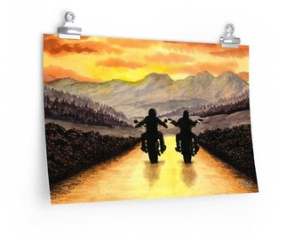 Live To Ride - Watercolour By Mouth - Poster Print On Fine Art Paper (18x12 inches)