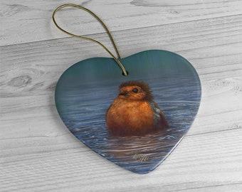 British Winter - Ceramic Ornament, Heart ***FREE SHIPPING***