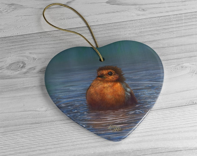 British Winter - Ceramic Ornament, Heart ***FREE SHIPPING***