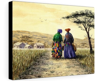 I Dream Of Africa - Watercolour By Mouth - Print On Stretched Canvas (16x12 inches)