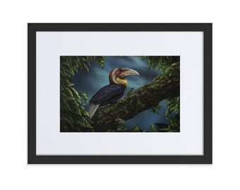 Wreathed Hornbill (SCTP) - Digital Painting By Mouth - Print, Matte, Framed & Mounted (30x40cm)