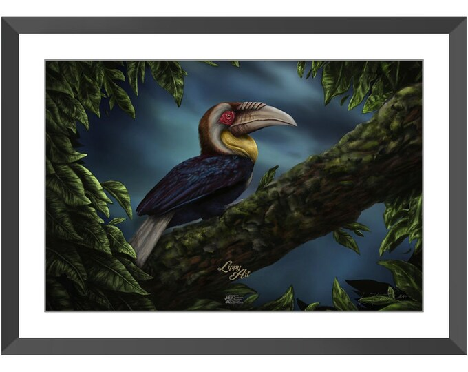Wreathed Hornbill (Digital Painting By Mouth) - Print, Lustre, Framed & Mounted (20 X 30 Inch)
