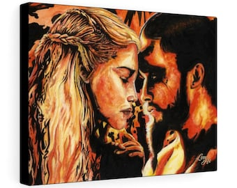Fire & Blood - Watercolour By Mouth - Print On Stretched Canvas (16x12 inches)