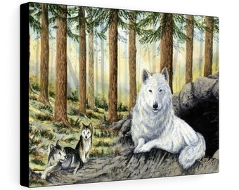 She Wolf - Watercolour By Mouth - Print On Stretched Canvas (16x12 inches)