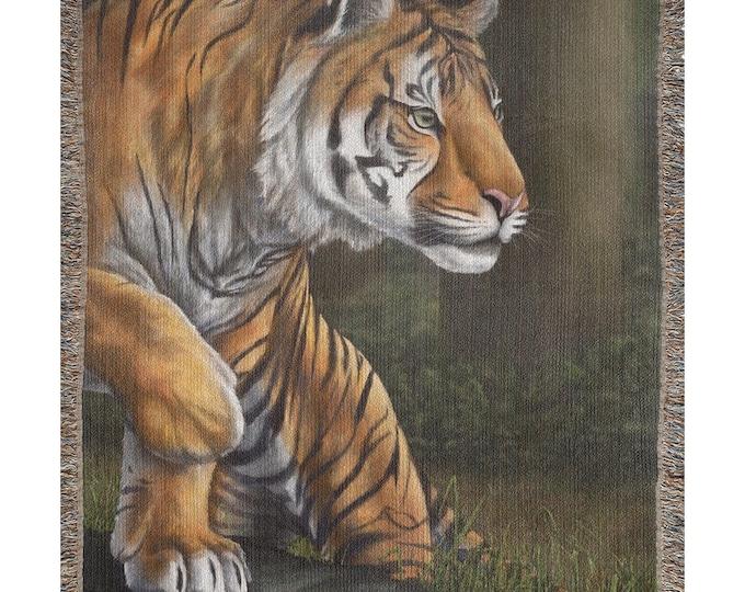 Maneater Of Pelakat (Sumatran Tiger, SCTP) - Woven Throw Blanket