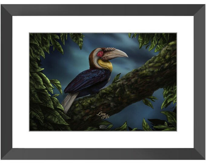 Wreathed Hornbill - Digital Painting By Mouth - Print, Lustre, Framed & Mounted (18 X 12 Inch)