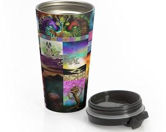 LippyArt Collage, Digital Mix #1 - Travel Mug (15oz, Stainless Steel)
