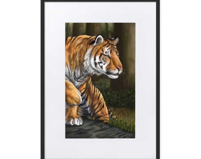 Maneater of Pelakat (Sumatran Tiger, SCTP) - Digital Painting By Mouth - Print, Matte, Framed & Mounted (50x70cm)