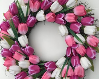 "22"" Spring Pink & White Tulip Wreath"