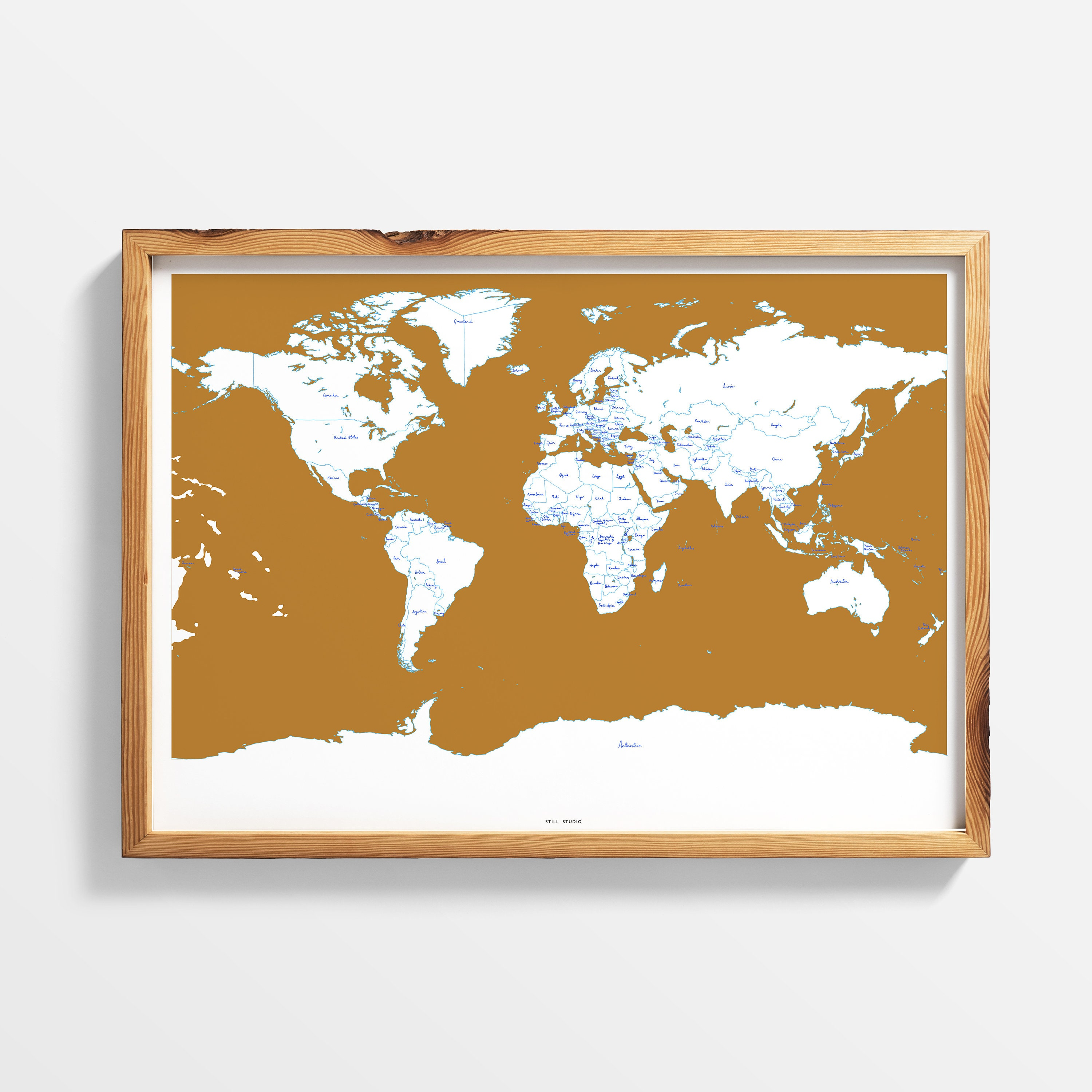 Hand Drawn Map Of The World.Hand Drawn Map Of The World Etsy