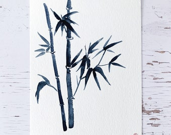 Bamboo 5 - Original aquarelle in sumi-e style, Japanese watercolours, 32x24 cm, NO frame, Christmas gift, travel memory, quantity discount
