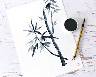 Bamboo 2- Original aquarelle in sumi-e style, Japanese watercolours, 32x24 cm, NO frame, Christmas gift, travel memory, quantity discount