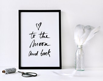 To the moon and back sign, minimalist nursery art, daughter gift from mom, love signs wedding reception decor, kids playroom, not framed
