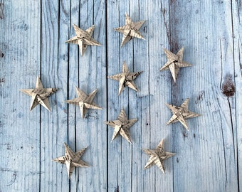 10 Origami stars, about 6,5 cm, paper from a Japanese newspaper, handmade, Christmas gift, xmas tree decoration, nursery paper pendant