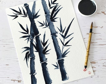 Bamboo 4 - Original aquarelle in sumi-e style, Japanese watercolours, 32x24 cm, NO frame, Christmas gift, travel memory, quantity discount
