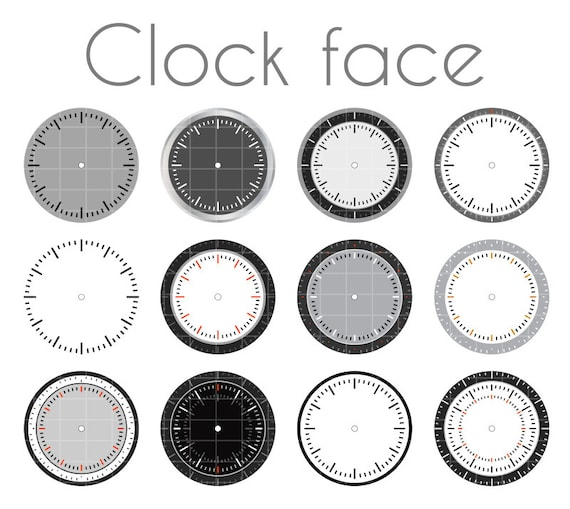 clock faces clock printable clock svg watch face watch etsy