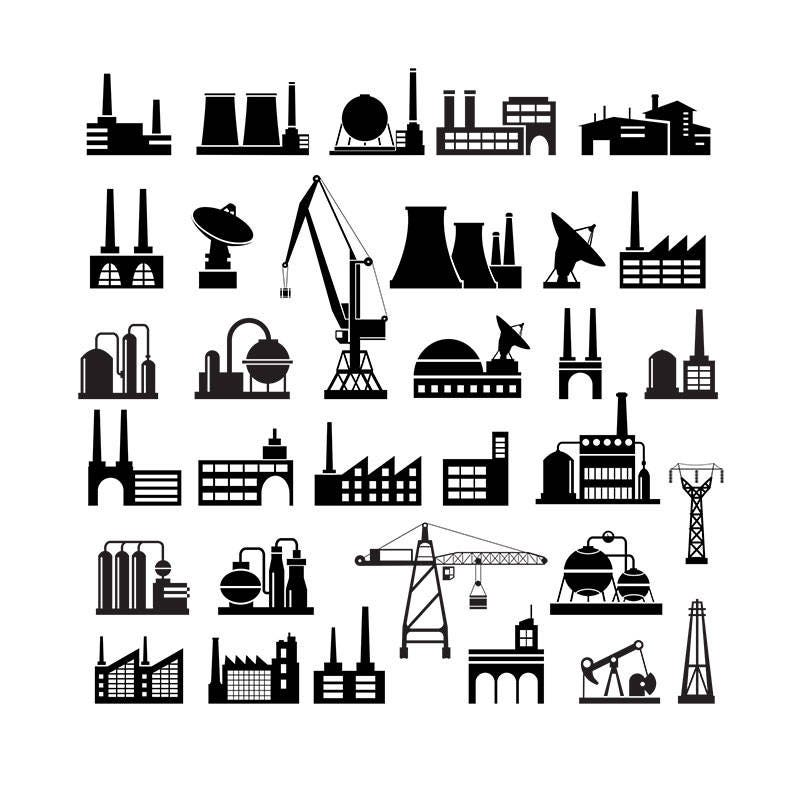 Industrial Silhouettes Industry Clipart Infographic Clip ...