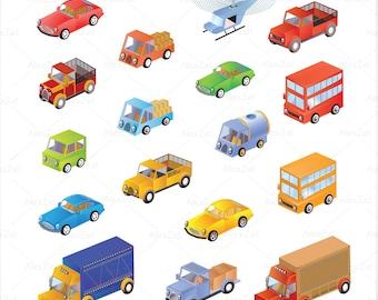Car Clipart, Car Clip Art, cute cars clipart, Bus Clipart, vintage car , truck Clipart, digital scrapbooking, taxi car, helicopter clipart