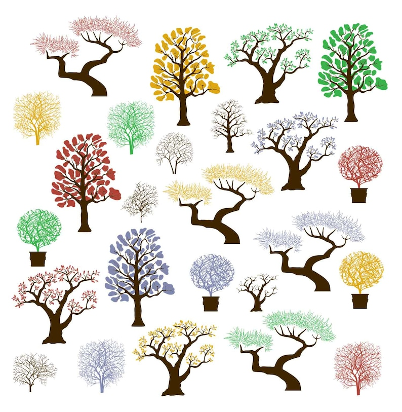 Tree Silhouettes Clipart Tree Clipart Tree Silhouettes Etsy