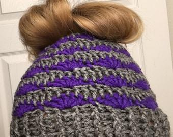 Messy Bun Beanie ~ Shells  Crochet Pattern
