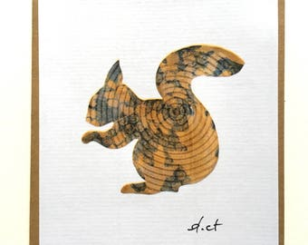 """Art card """"The squirrel"""" in brown, orange or green"""