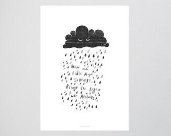 Applaus / Quote, Rain, Cloud, Typography Art, Kunstdruck Poster, Wall-Art