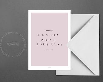 Postkarte Exzess / Darling, Party, Celebrate, Card, Postcard, Greeting Card, Envelope, Present, Message, Letter