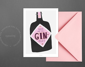 Postcard / Gin / Scandinavian Vintage Card with funny Quote Bottle