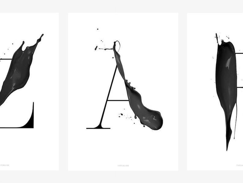 Print Abc Artsy A Z Letter Poster Scandi Black White A B C Etsy