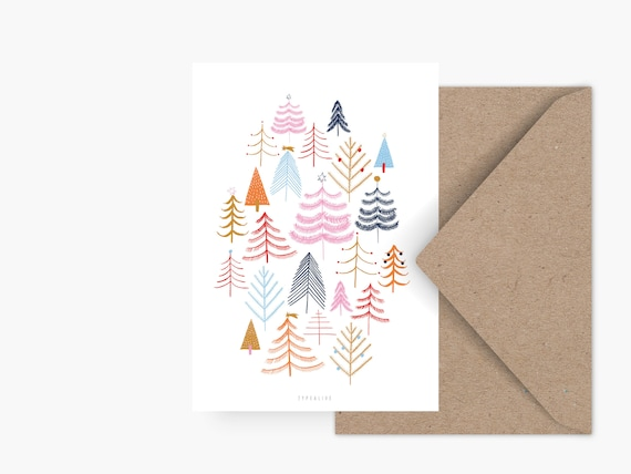 Weihnachtskarten Plus.Christmas Card Christmas Forest Greeting Card Christmas Party Invitation Christmas Card Pine Illustration Christmas Tree Woods Kids