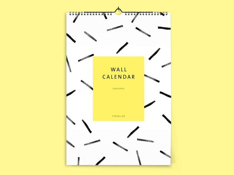 Wall Calendar 2019 Din A4 Wall Black And White Pattern Wall Etsy