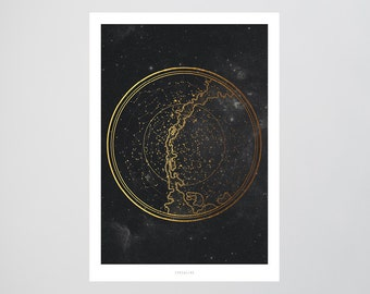 Sternenkarte (Fake Gold) / Stars, Map, Fine Art-Print, Wall-Art, Minimal Poster Art, Typography Art, Premium Poster, Kunstdruck Poster