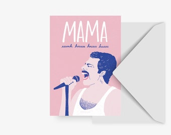 Postcard / Mama / Funny Card with Queen Lyrics for Mothers