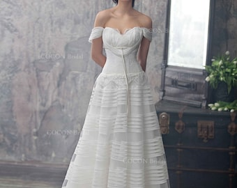 """Haute Couture Wedding Dress Romantic Wedding Gown from silk organza and Chantilly lace Dream Dress Rustic dress -""""Lyra"""""""