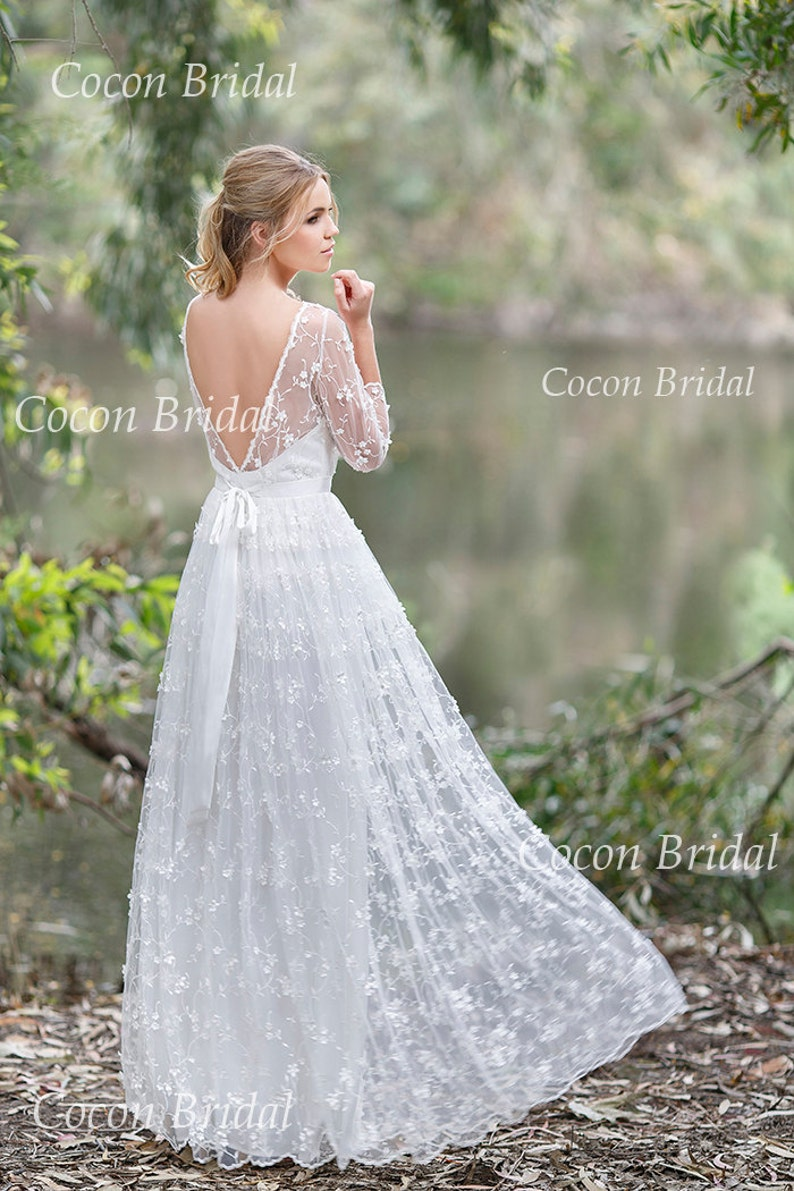 Romantic Bohemian Wedding Dresses.Romantic Boho Wedding Dress From Chiffon Italian Lace Open V Back Wedding Dress Romantic And Dreamy Wedding Dress