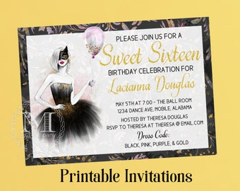 Sweet Sixteen Invitation, Birthday Invitation, Party Invitation ,Masquerade, Printable, Digital,